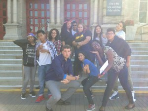 Steven with some of the Youth Group in front of St. Raymond Church