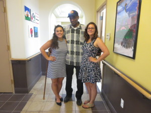 Jaime and Jacquie with a resident of Serviam Gardens