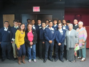 Jacquie with Brother Richard Galvin and the St. Raymond's students on the intergenerational retreat