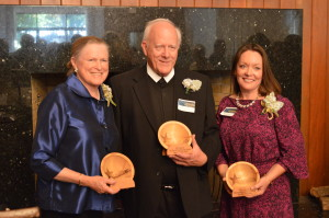 Award recipients, from left, Carole Swain, Br. Jonathan Cord, FSC and Marilyn Paquette