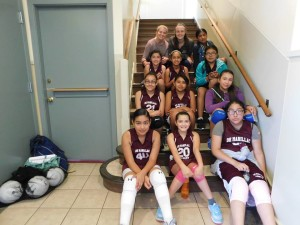 Kacie and Abbey with the volleyball team