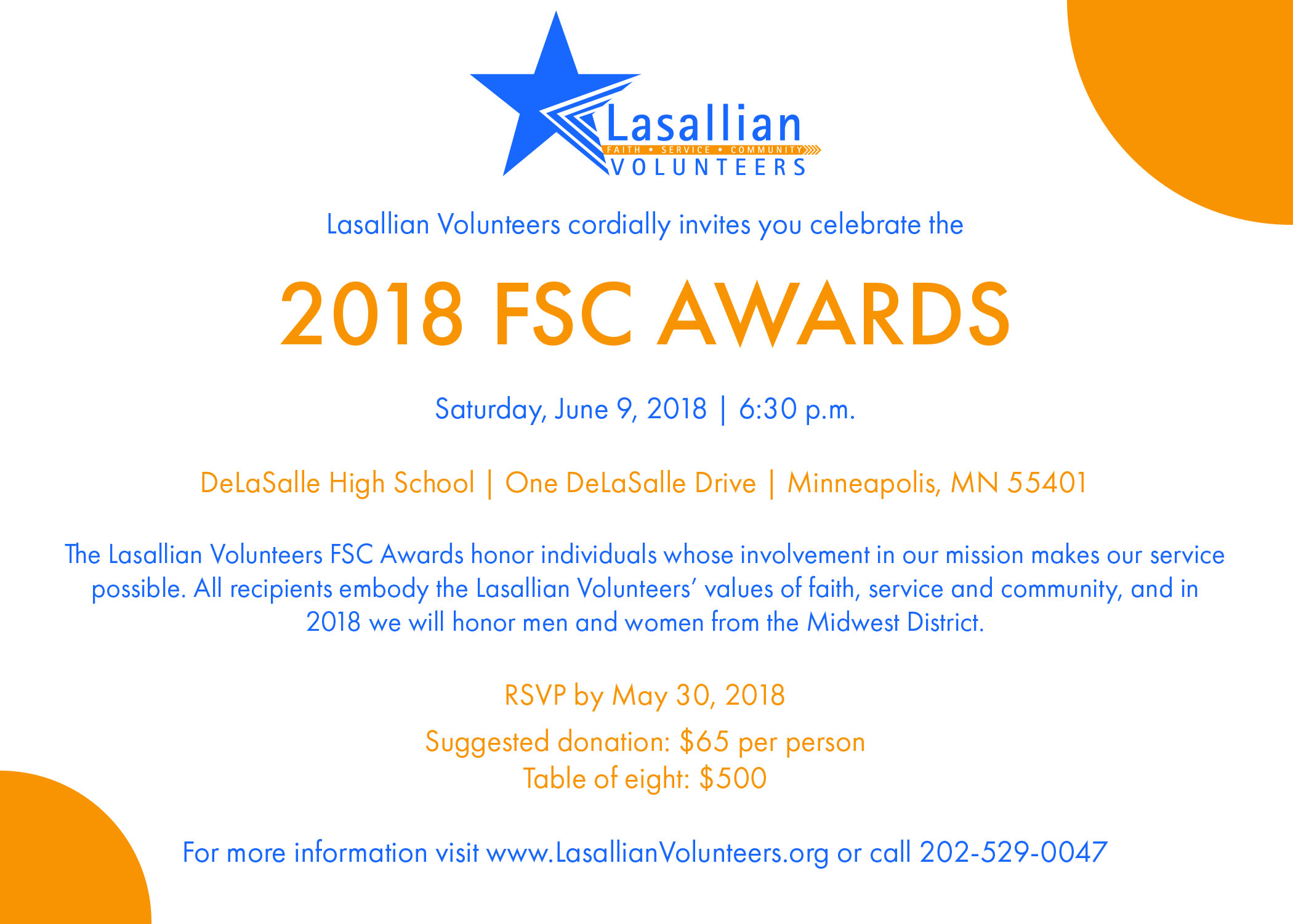 2018 Fsc Awards Save The Date Lasallian Volunteers